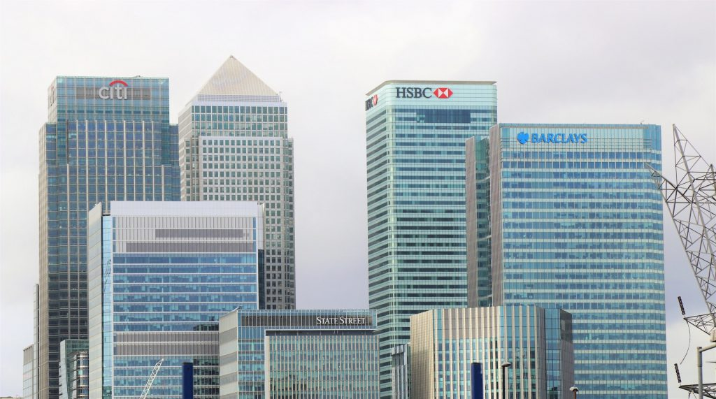 Financial services bank buildings backdrop in city